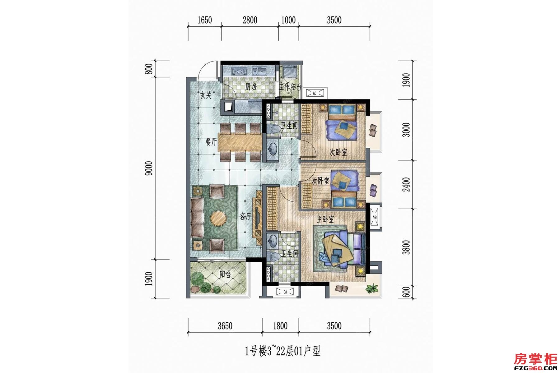 1号楼3~22层01户型