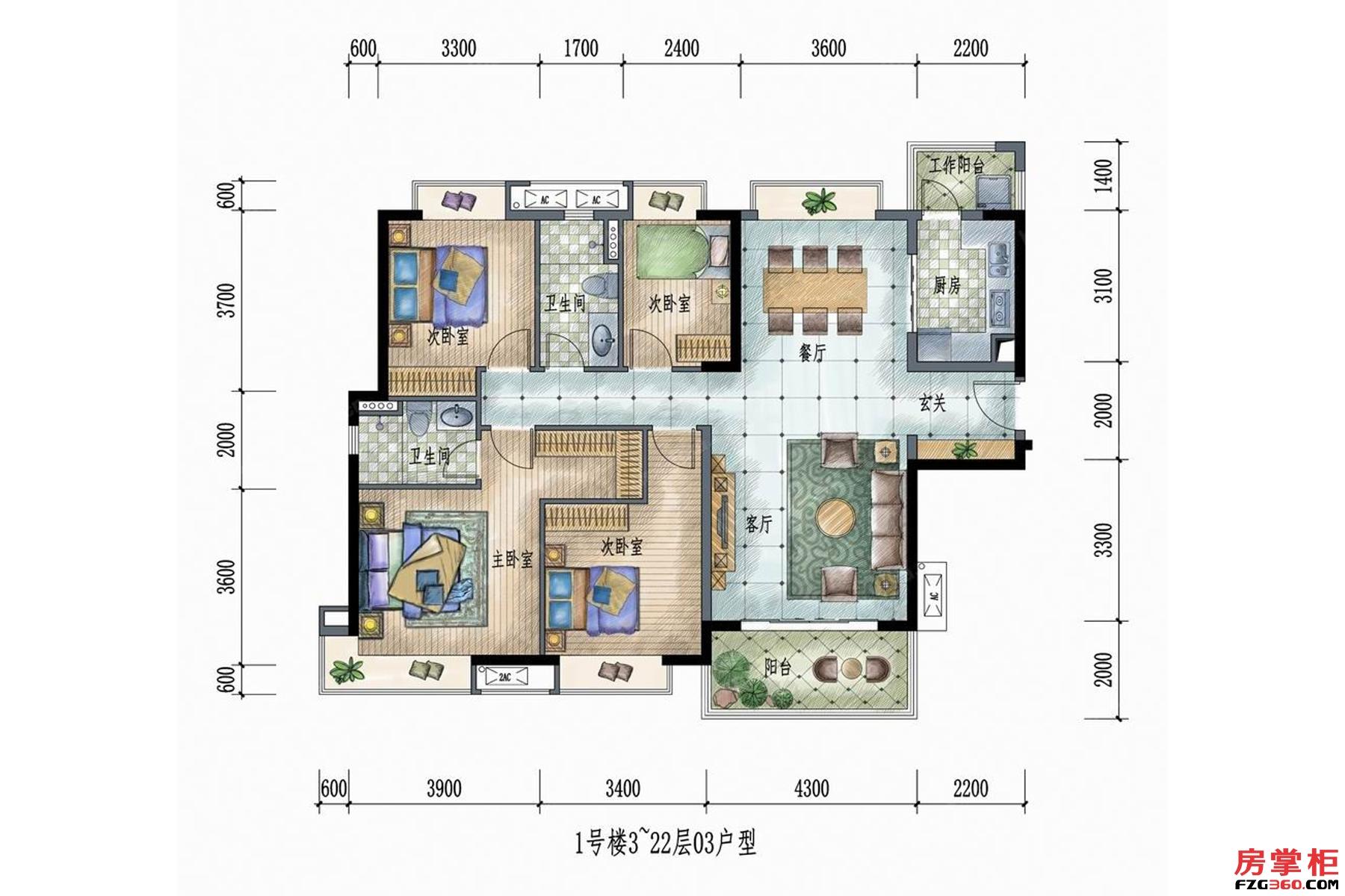 1号楼3~22层03户型