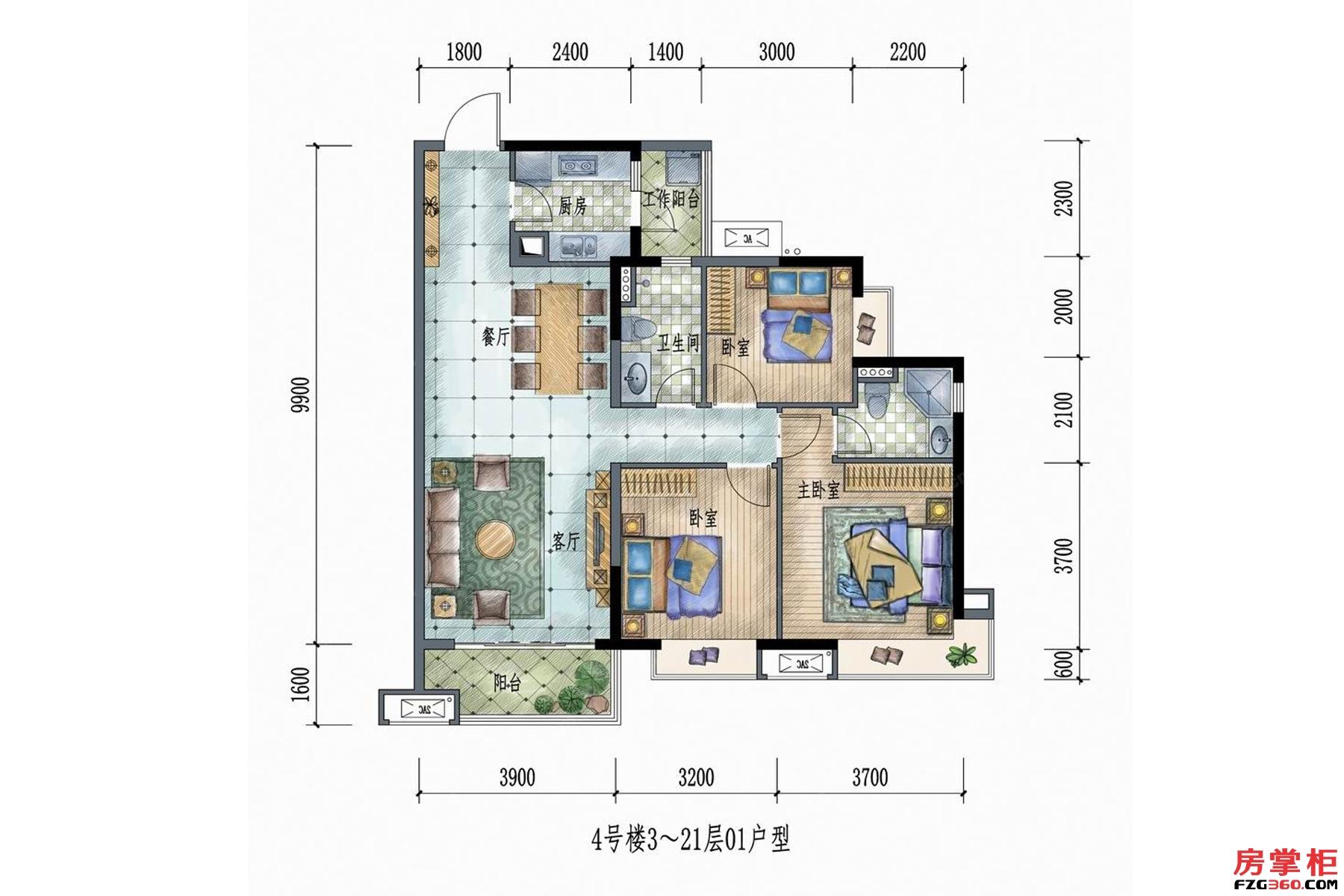 4号楼3~21层01户型