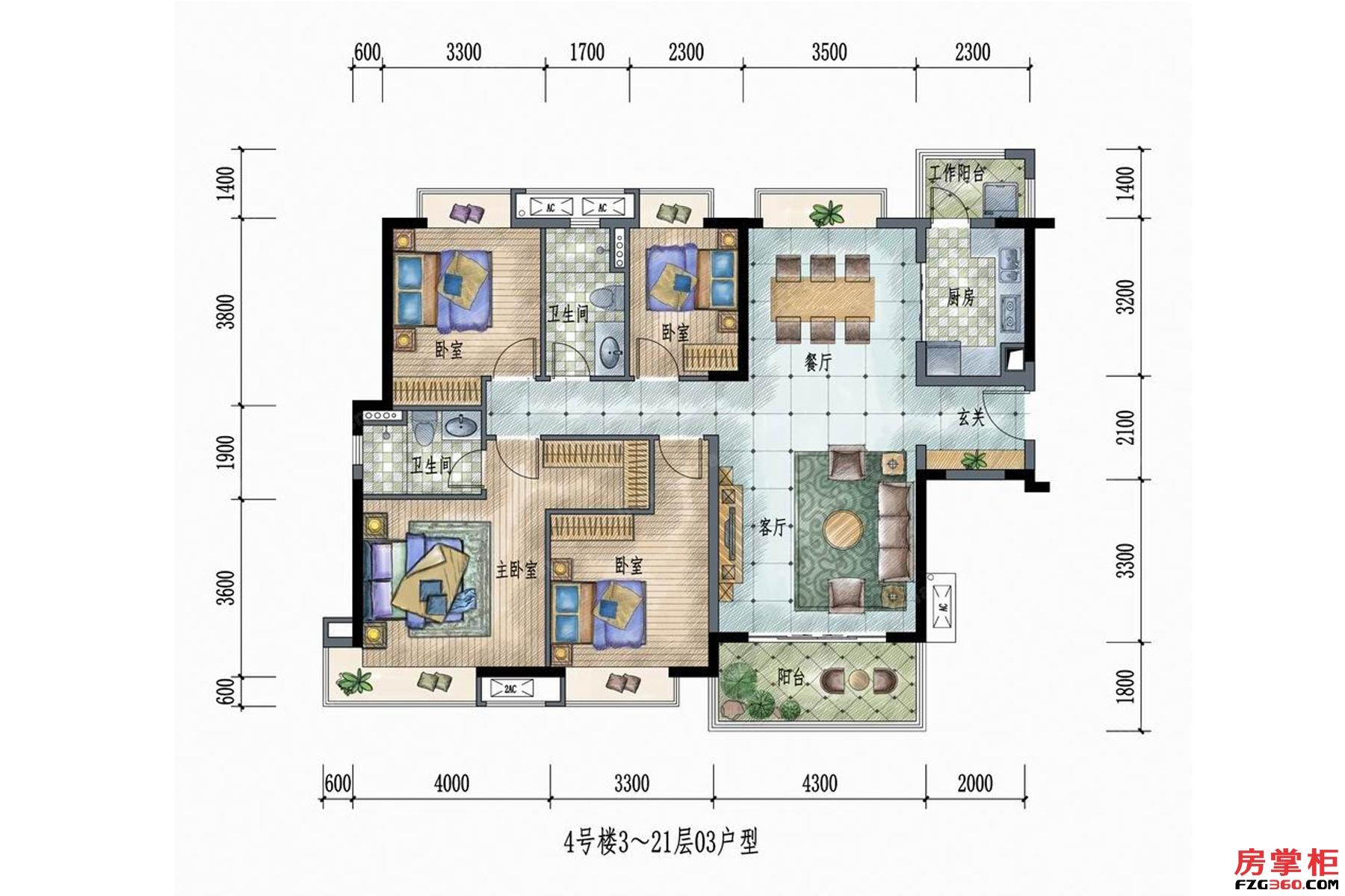 4号楼3~21层03户型