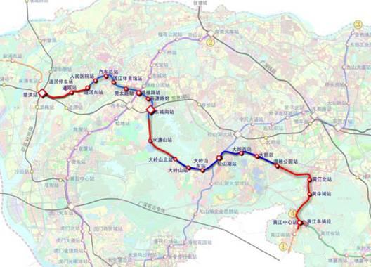 东莞地铁R1线走向及站点示意图-金地城南艺境 华南首席褐石小镇 23万图片
