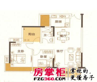 户型1, 3室2厅1卫, 约89.00平米