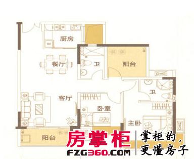 户型2, 3室2厅2卫, 约100.00平米