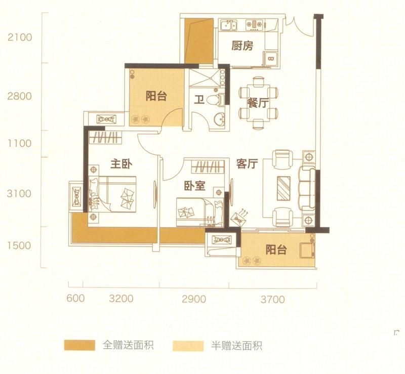 89㎡1三房两厅一卫3室2厅1卫1厨 89.00㎡