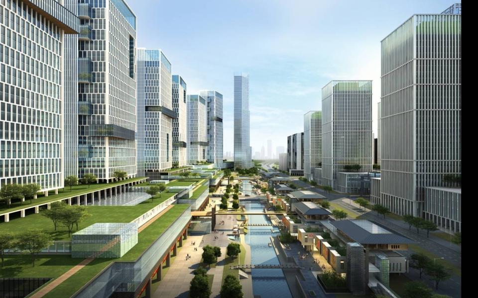 商业综合区水街效果图
