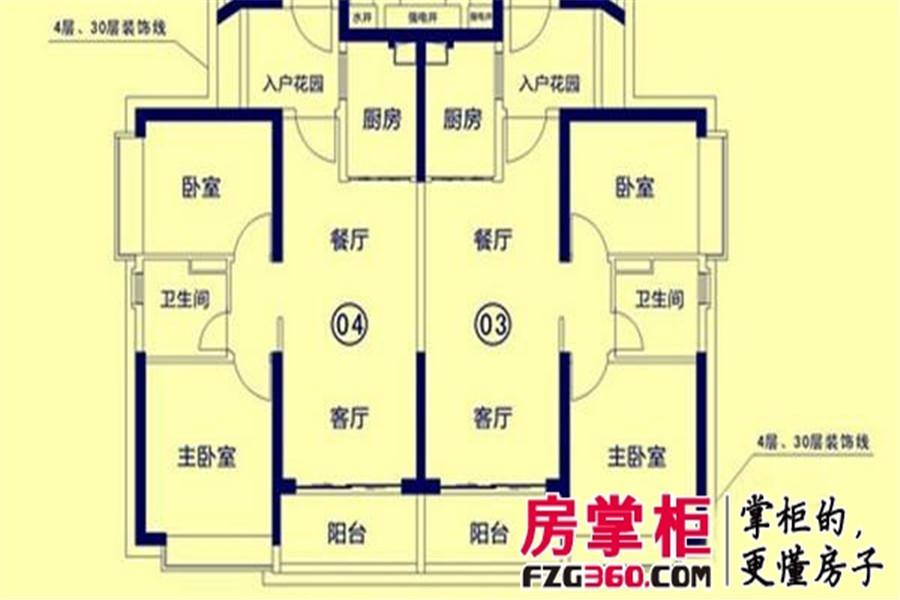 恒大御景湾7栋03、04户型2室2厅1卫1厨