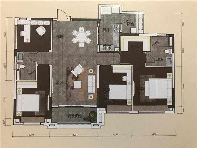 9栋01户型143平米四房两厅两卫