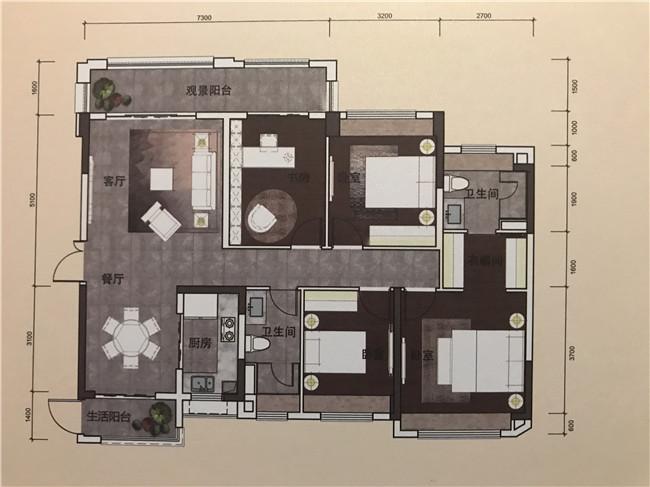 9栋03户型143平米四房两厅两卫