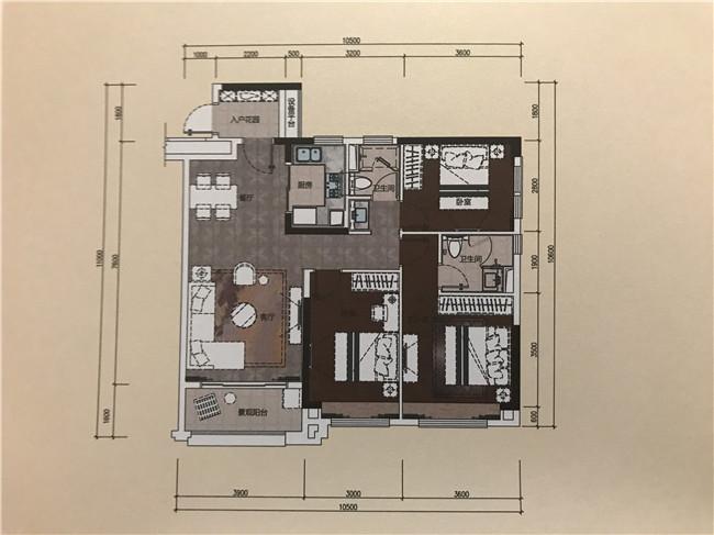 6栋01户型104平米三房两厅两卫