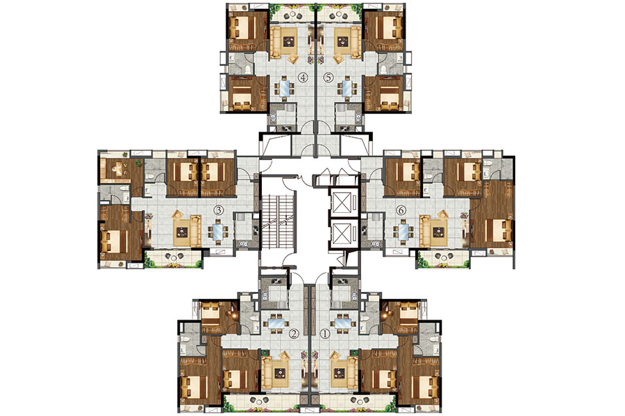 16栋2~22层平面图
