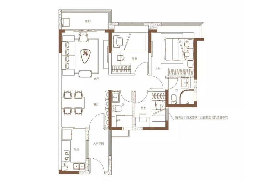 建面约90平珑璟洋房