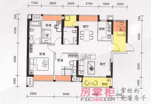 该户型面积约为108平米,为三房两厅两卫的设计.户型进门便