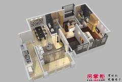 惠阳碧桂园山河城洋房Q9户型3D图