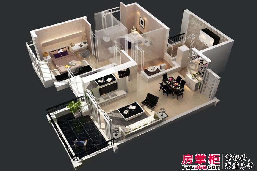 惠阳碧桂园山河城洋房Q9S-3-01户型3D图