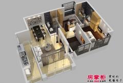 惠阳碧桂园山河城洋房Q9S-3-02户型3D图