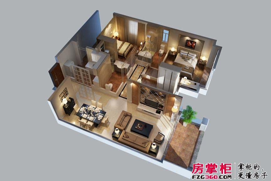 惠阳碧桂园山河城洋房J36户型3D图