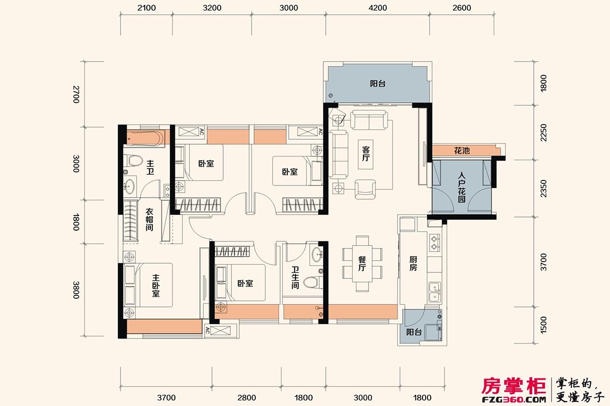 佳兆业东江新城高层洋房C户型-128平米4房2厅
