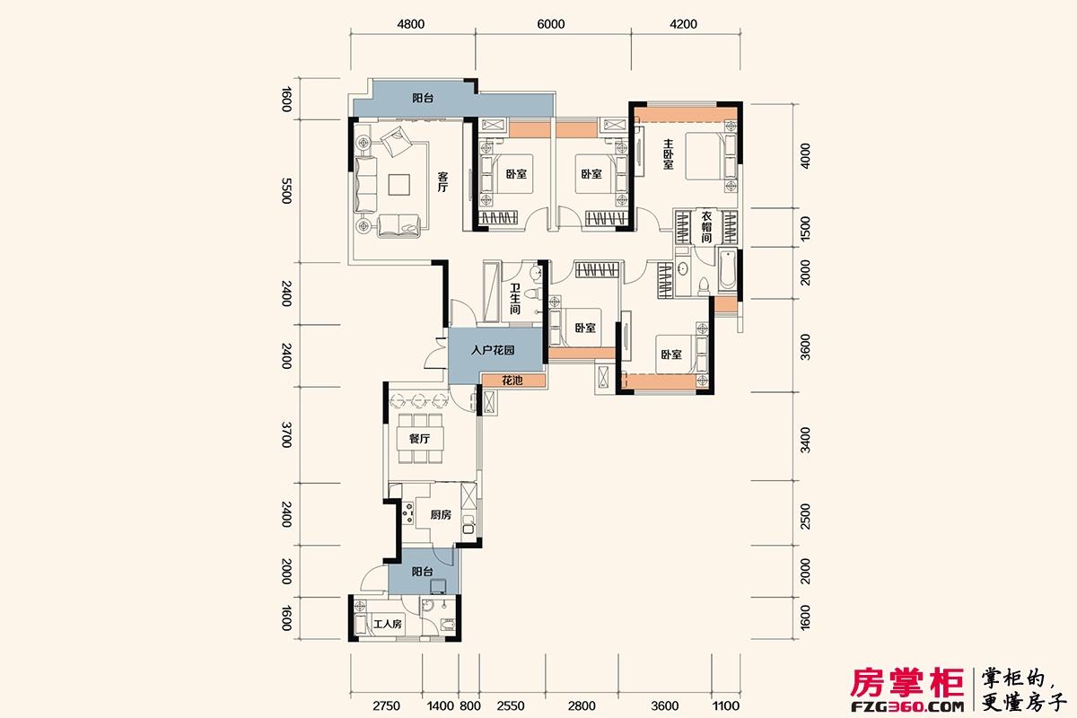 佳兆业东江新城高层洋房G户型-192平米6房2厅