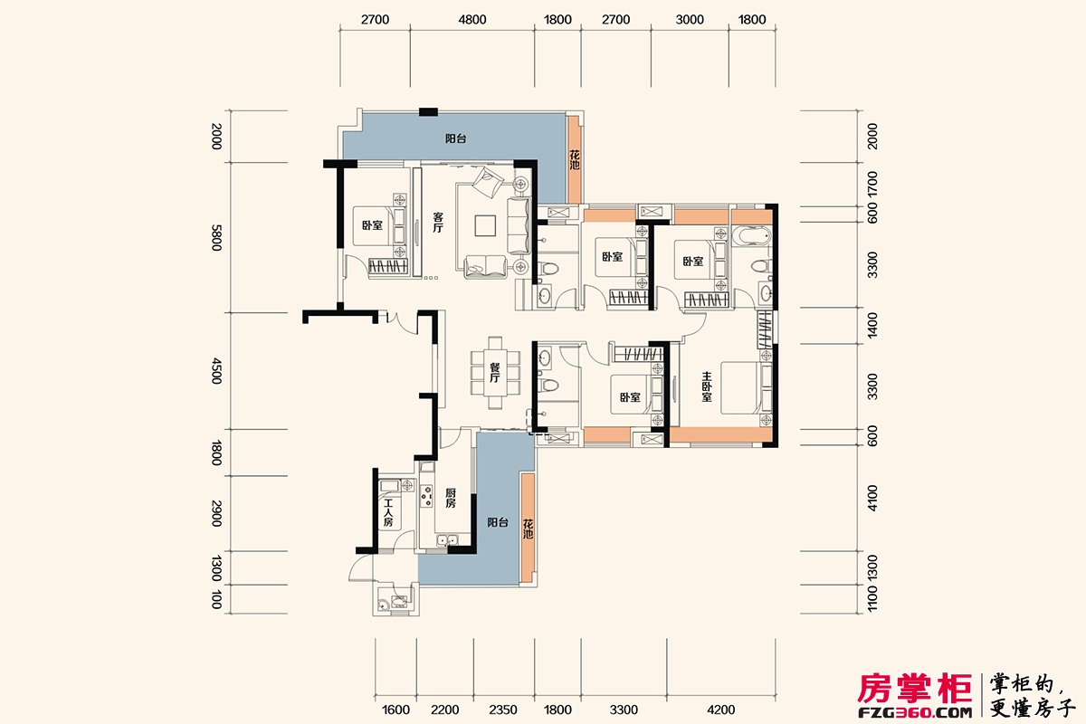 佳兆业东江新城高层洋房I户型-204平米6房2厅