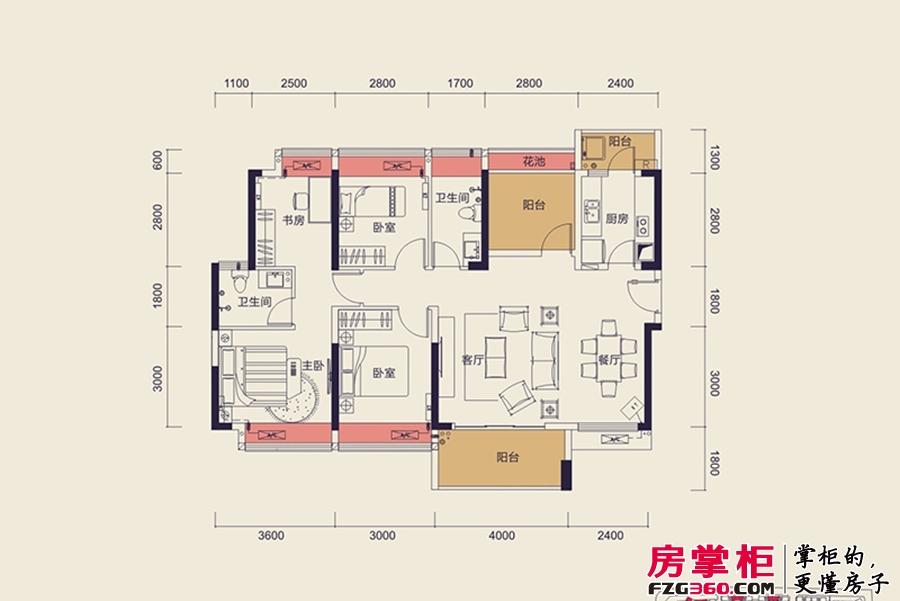中洲天御2期新品G户型-123平4+1户型