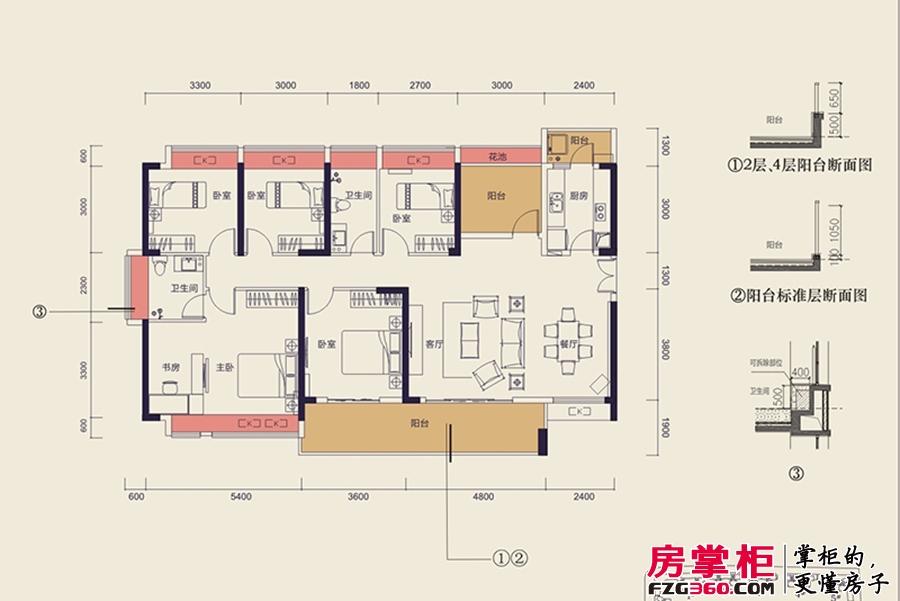 中洲天御2期新品F户型-169平5+1户型