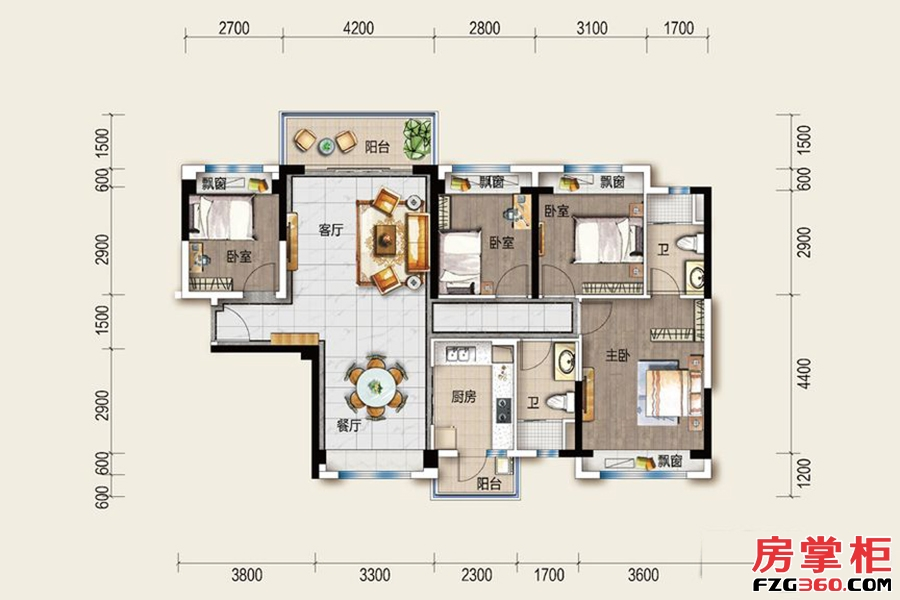 碧桂园太东公园上城-B1户型-4室2厅1厨2卫