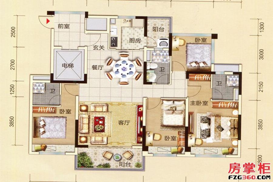 碧桂园太东公园上城-A户型-4室2厅1厨3卫