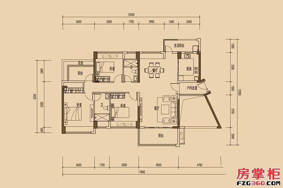 天睿南区2/10栋0304户型-136平米-3房2厅2卫