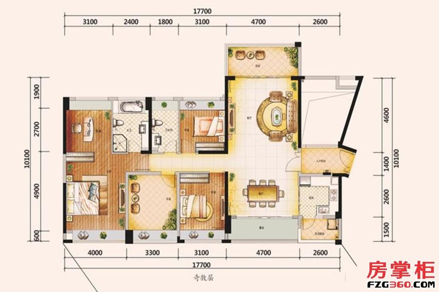 天颂G区160平米户型-4房2厅2卫