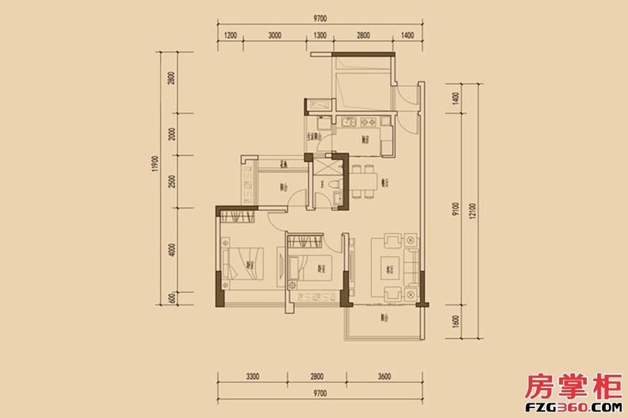 天睿南区1栋02户型-86�O-2房2厅1卫