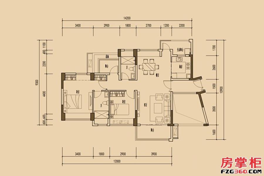 天睿南区1栋03户型-108�O-2房2厅2卫
