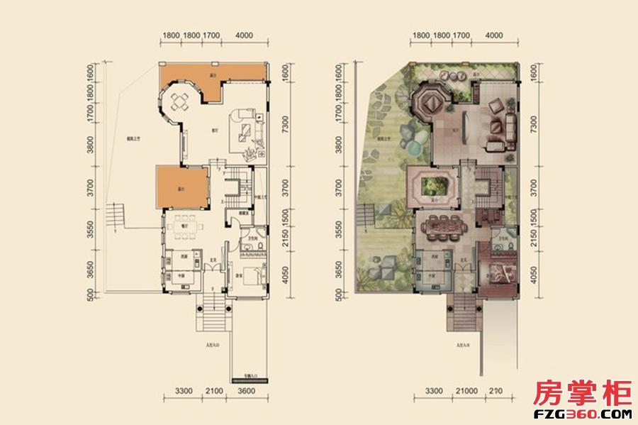 F户型-280㎡-5房2厅5卫-1层