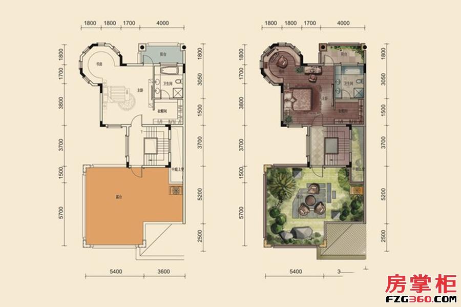 F户型-280㎡-5房2厅5卫-3层