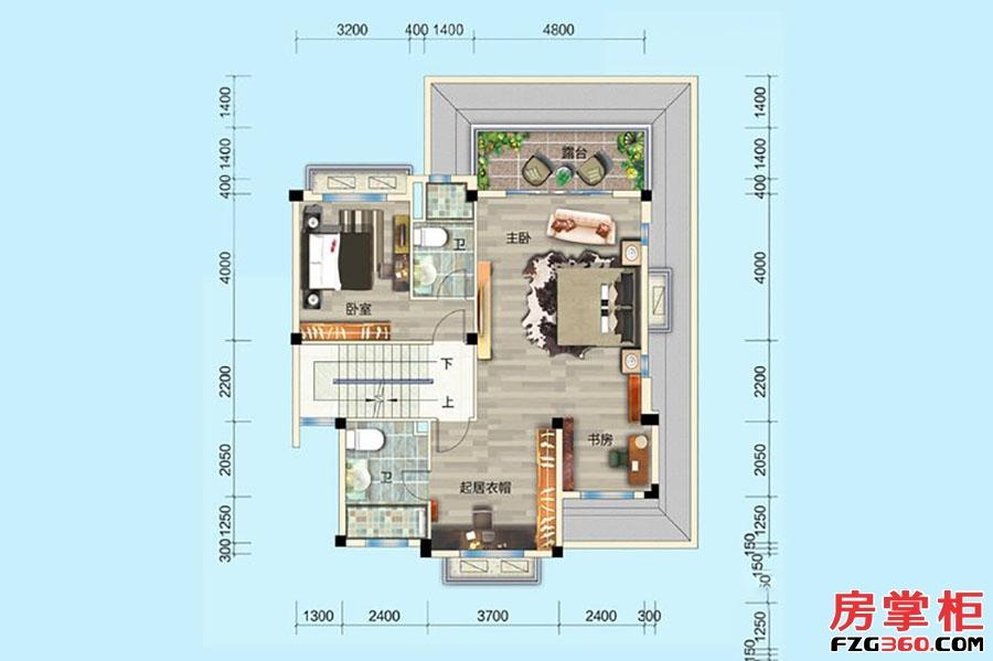 别墅P005-4户型-341�O-5房5厅4卫-二层