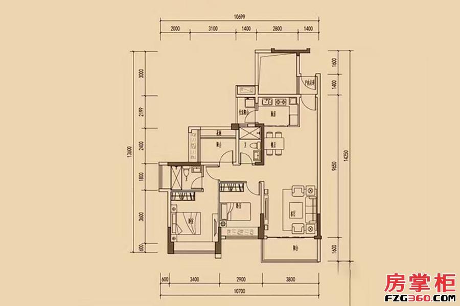 天睿2-4栋-2栋0102户型-98�O-2房2厅2卫