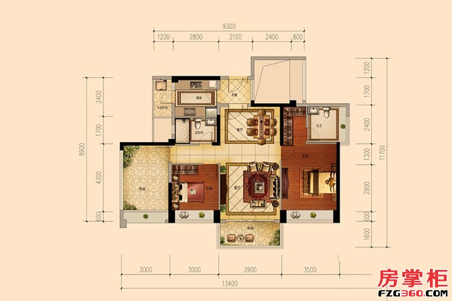 天睿4栋B户型-118�O-2房2厅2卫
