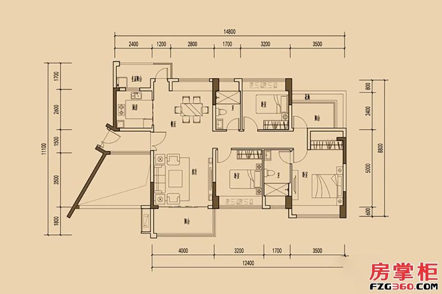 天睿南区1-9栋04户型-123�O-3房2厅2卫