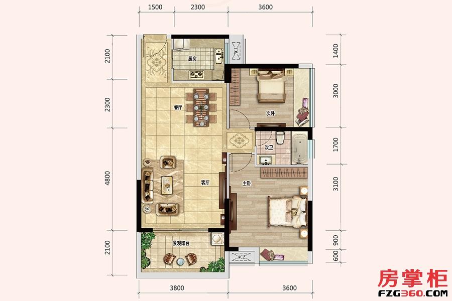 梵高的花园101/108栋-A户型-85�O-2房2厅1卫