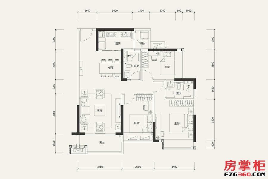 8栋01户型-101�O-3室2厅2卫