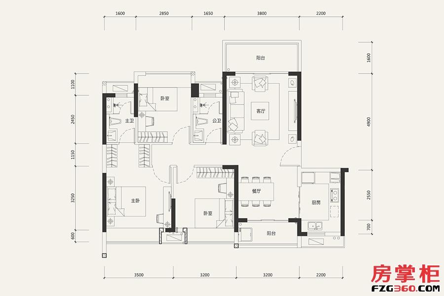 8栋03户型-107㎡-3室2厅2卫
