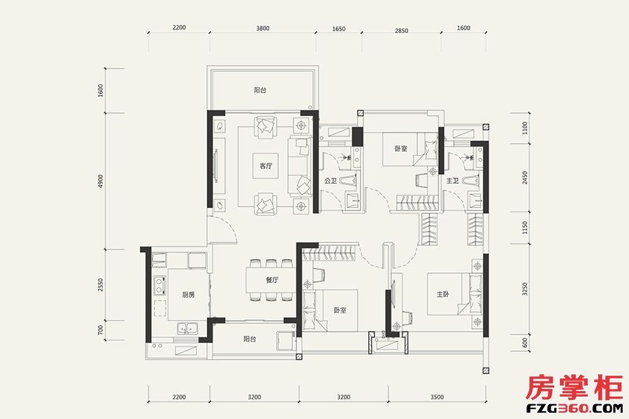 8栋04户型-107㎡-3室2厅2卫