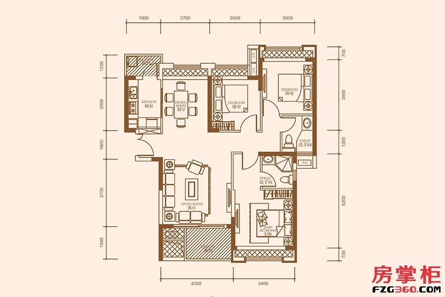 B2户型-111㎡-3房2厅2卫