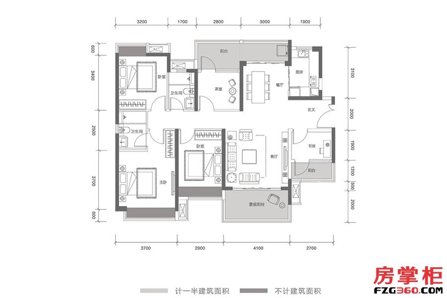 云顶-T11栋03号户型-142㎡-5房2厅2卫