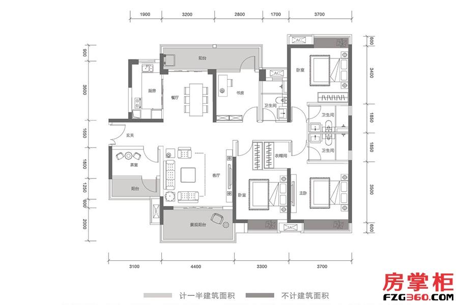 云顶-T11栋04号户型-167㎡-5房2厅2卫