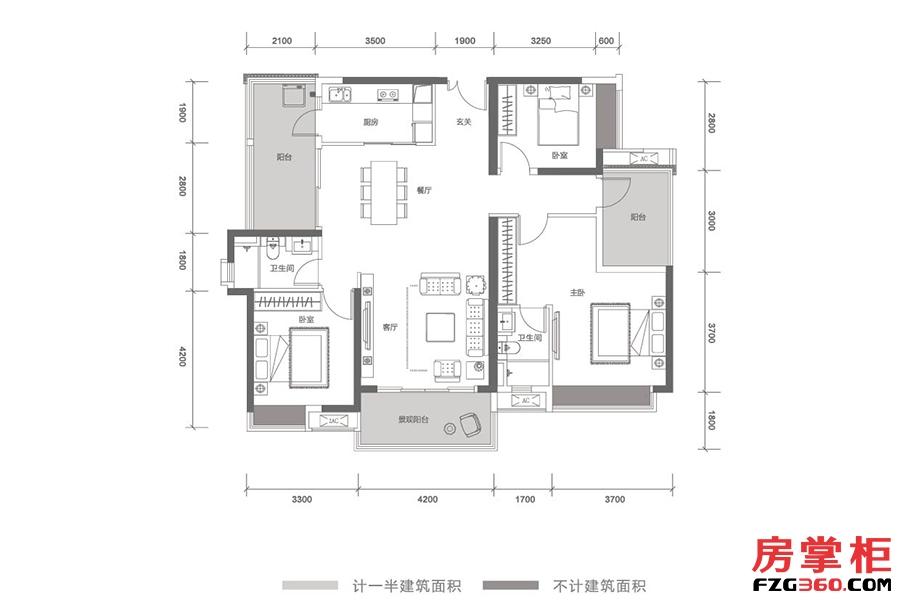 云顶-T21栋01号户型-145㎡-3房2厅2卫