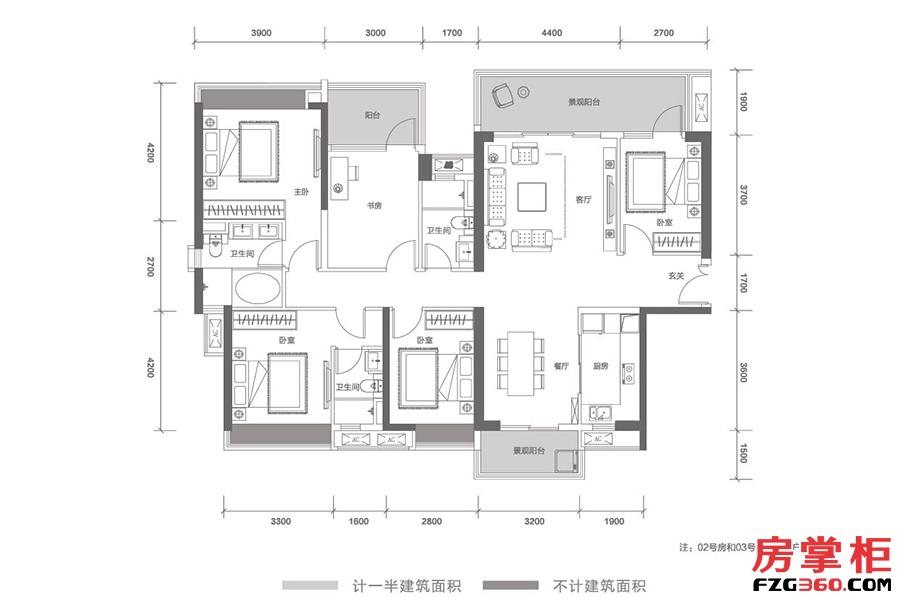 云顶-T21栋02号户型-178㎡-5房2厅2卫