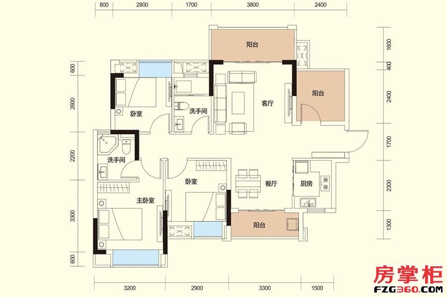 C户型-98㎡-3房2厅2卫