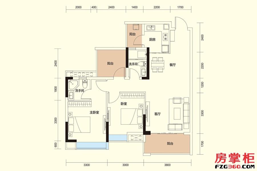E户型-90㎡二房二厅二卫