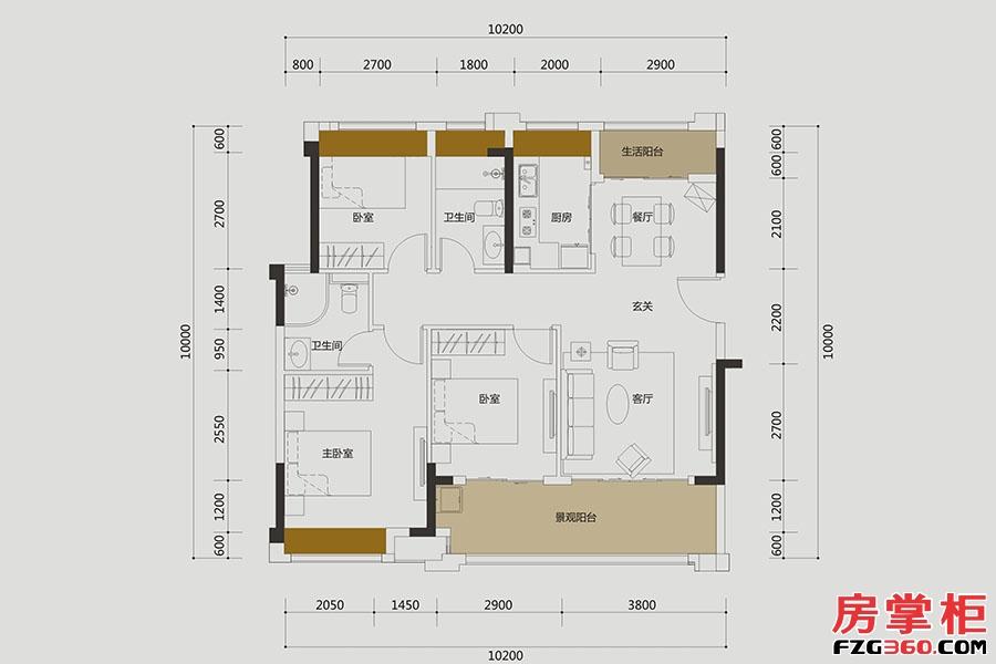 A6户型-约102㎡-3房2厅2卫