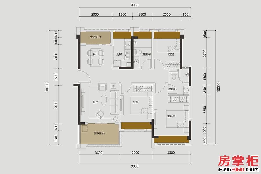 B1户型-约96㎡-3房2厅2卫